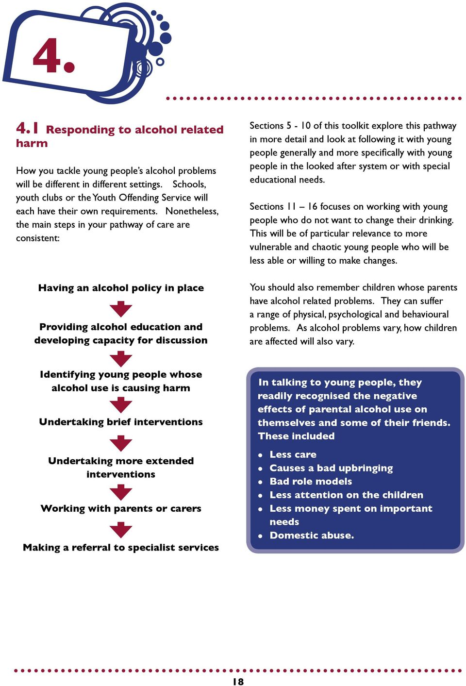 Nonetheless, the main steps in your pathway of care are consistent: Having an alcohol policy in place Providing alcohol education and developing capacity for discussion Sections 5-10 of this toolkit