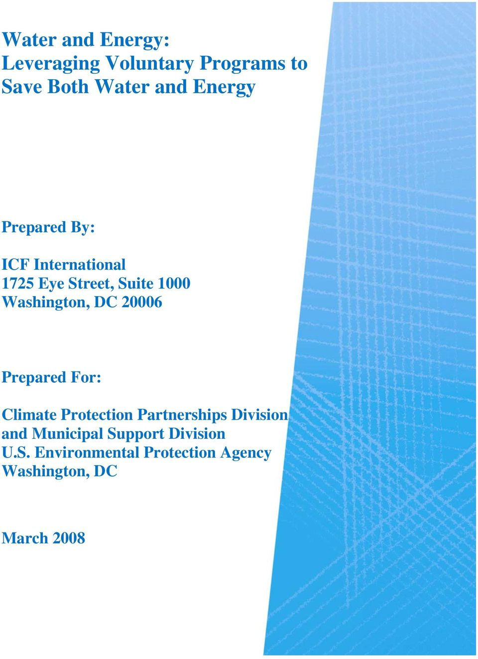 Washington, DC 20006 Prepared For: Climate Protection Partnerships Division