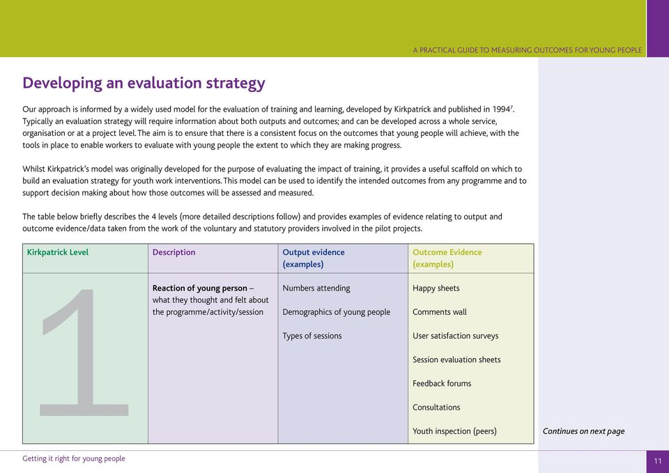 Typically an evaluation strategy will require information about both outputs and outcomes; and can be developed across a whole service, organisation or at a project level.