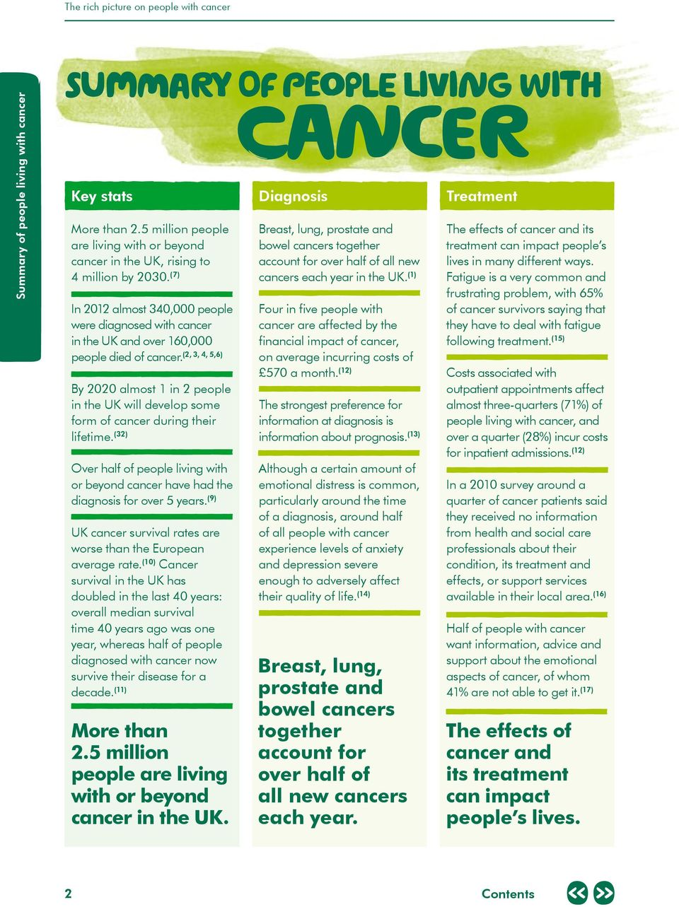 (7) In 2012 almost 340,000 people were diagnosed with cancer in the UK and over 160,000 (2, 3, 4, 5,6) people died of cancer.