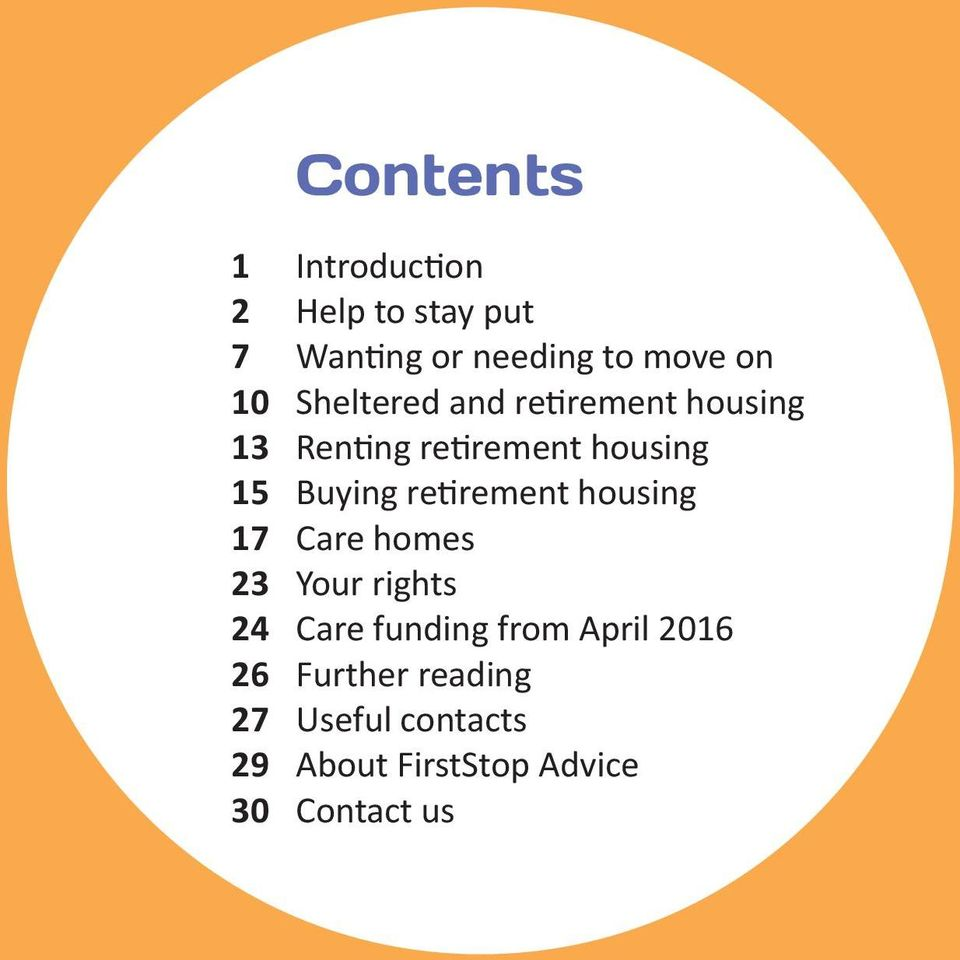 retirement housing 17 Care homes 23 Your rights 24 Care funding from April