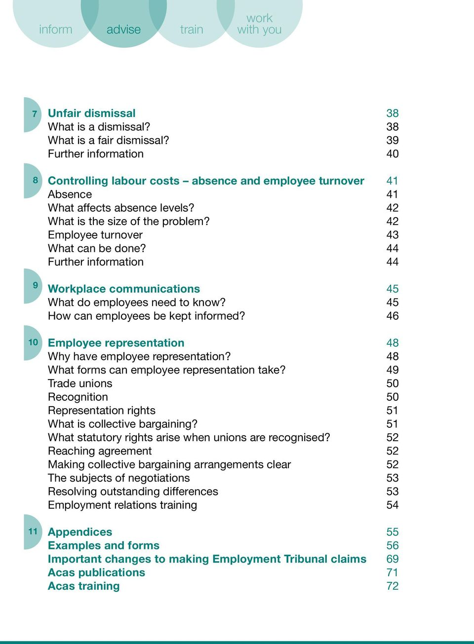 42 Employee turnover 43 What can be done? 44 Further information 44 Workplace communications 45 What do employees need to know? 45 How can employees be kept informed?
