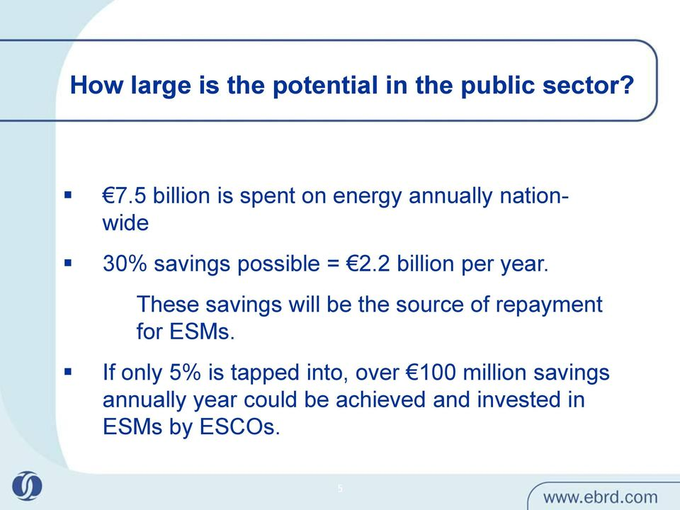 2 billion per year. 88% These savings will be the source of repayment for ESMs.