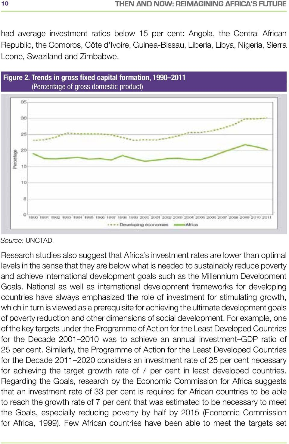 Research studies also suggest that Africa s investment rates are lower than optimal levels in the sense that they are below what is needed to sustainably reduce poverty and achieve international