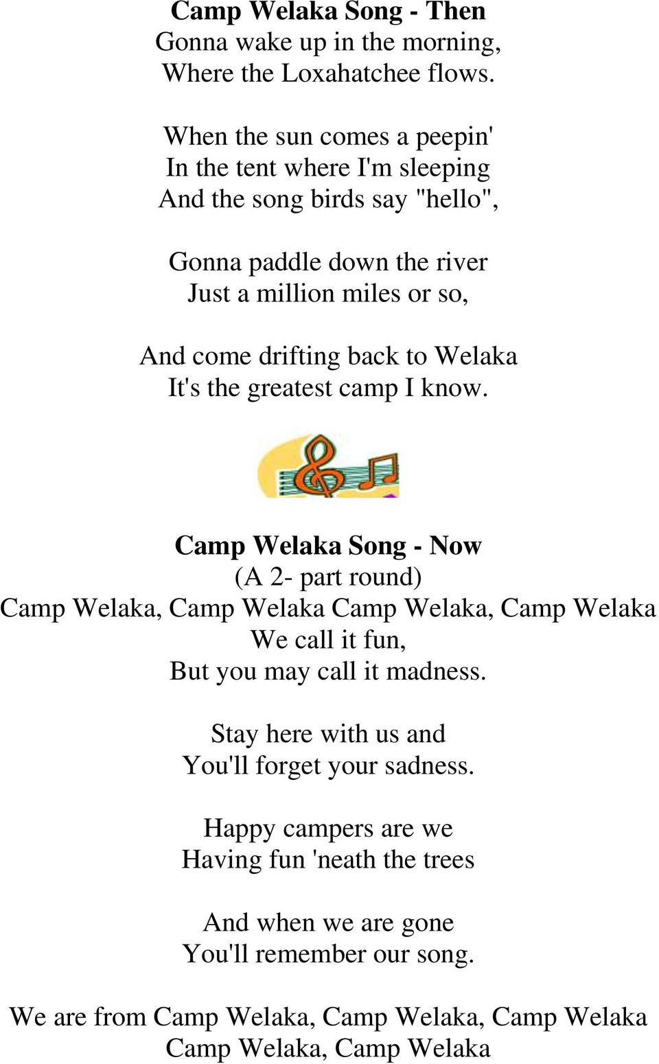 drifting back to Welaka It's the greatest camp I know.