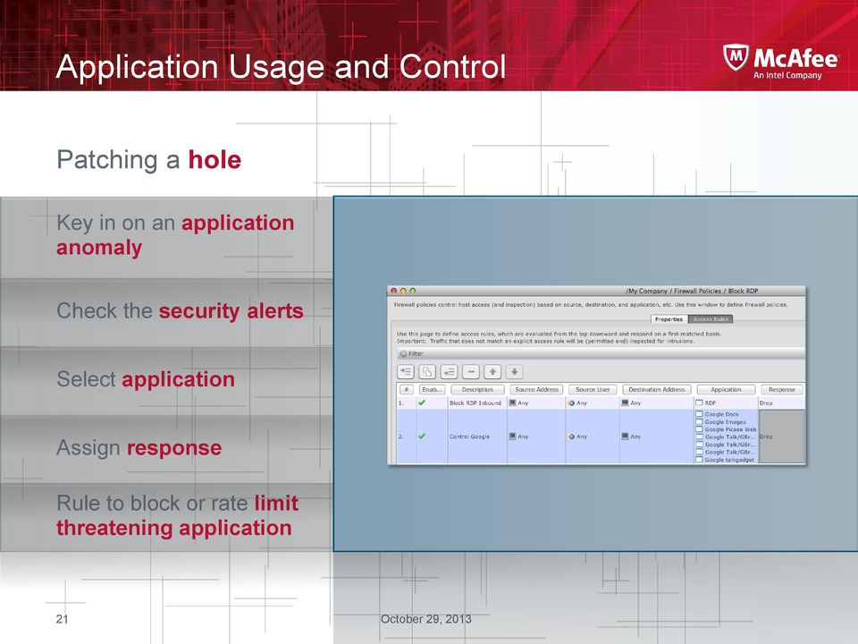 security alerts Select application Assign