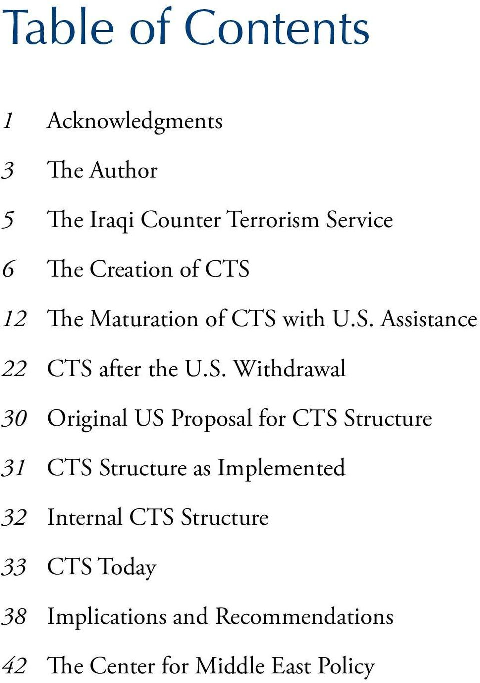 S. Withdrawal Original US Proposal for CTS Structure CTS Structure as Implemented Internal