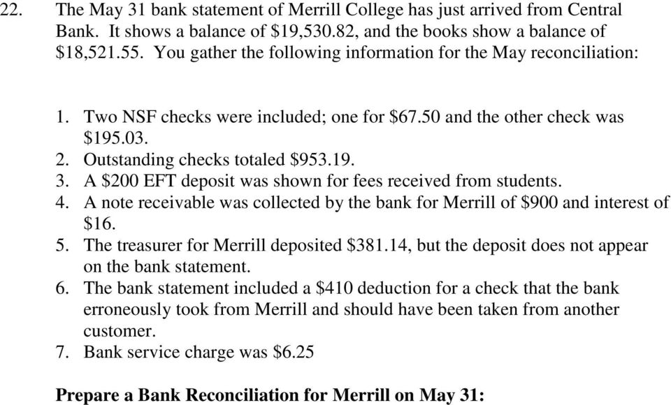A $200 EFT deposit was shown for fees received from students. 4. A note receivable was collected by the bank for Merrill of $900 and interest of $16. 5. The treasurer for Merrill deposited $381.
