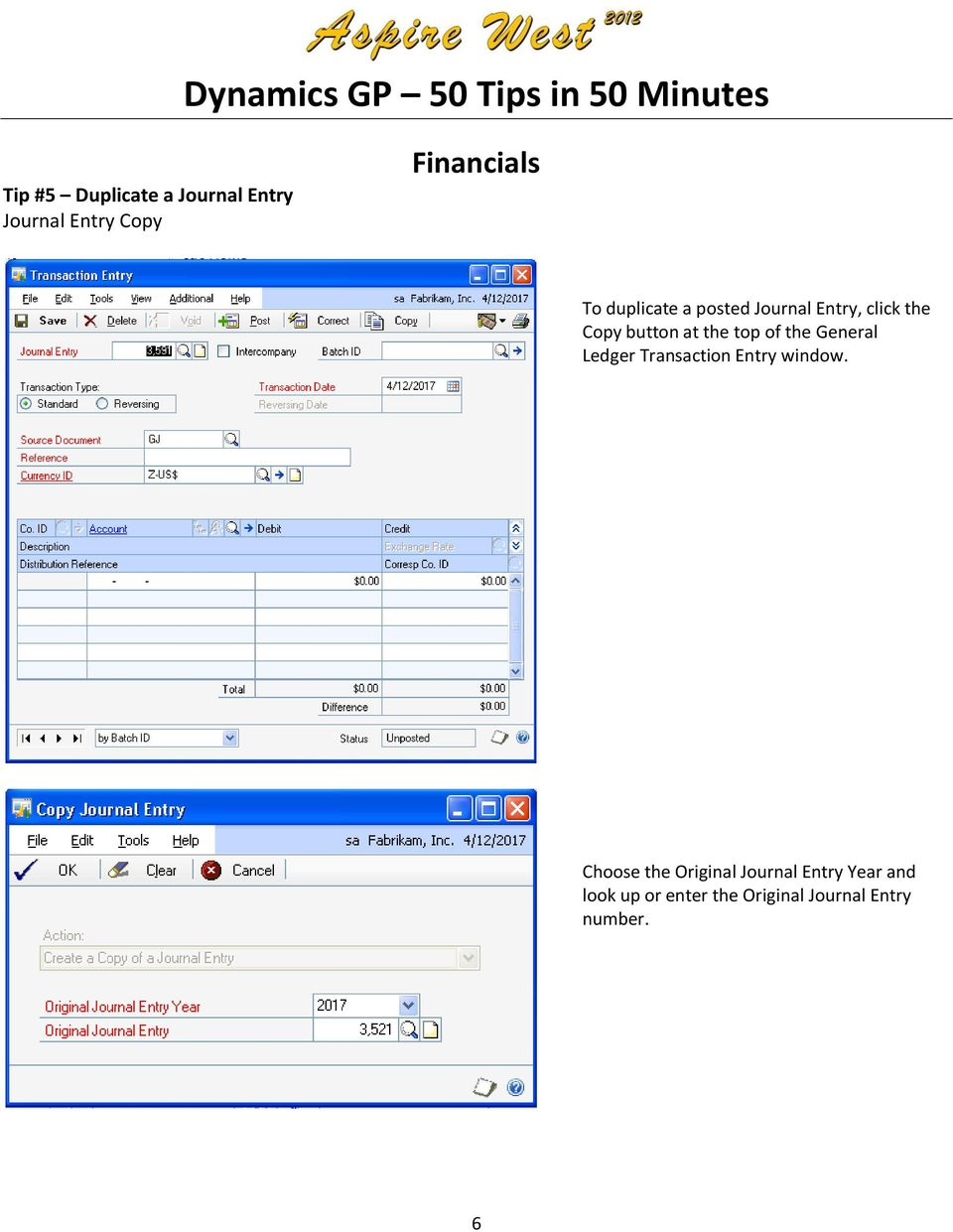 the General Ledger Transaction Entry window.