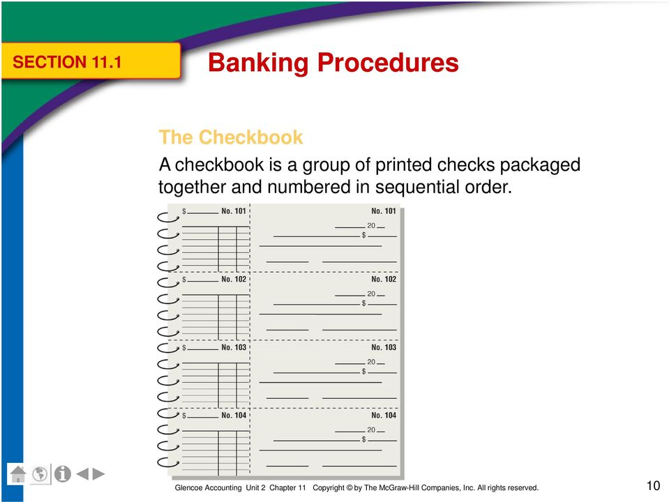 A checkbook is a group of printed