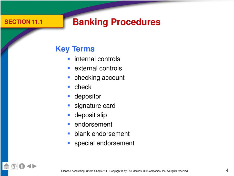 controls external controls checking account