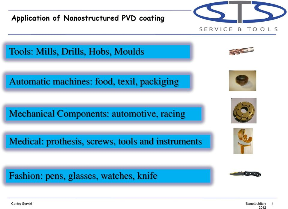 packiging Mechanical Components: automotive, racing Medical: