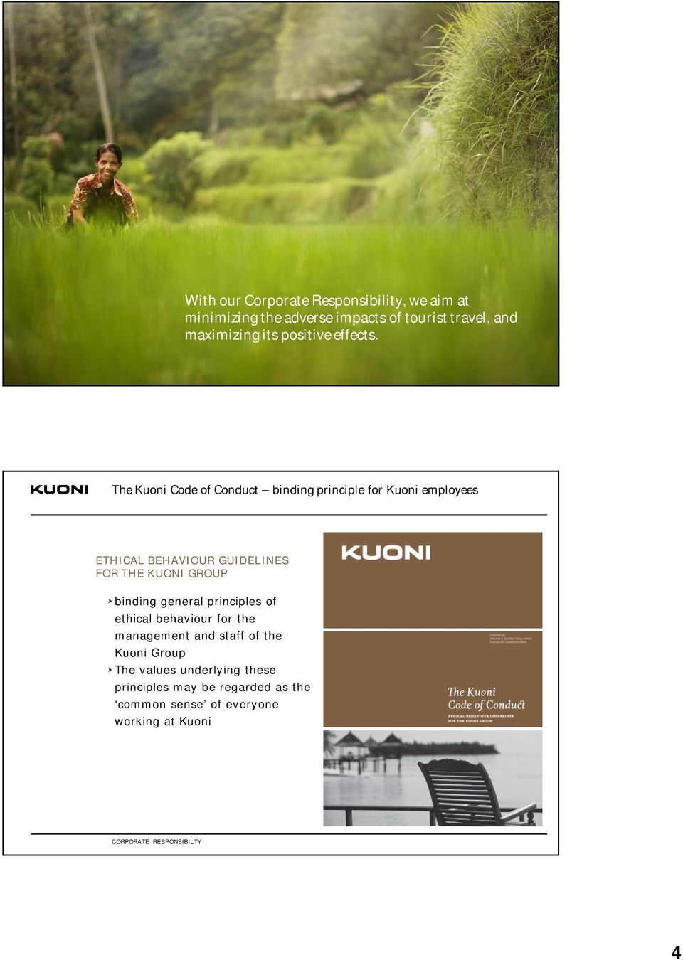 CORPORATE RESPONSIBILI TY The Kuoni Code of Conduct binding principle for Kuoni employees ETHICAL BEHAVIOUR