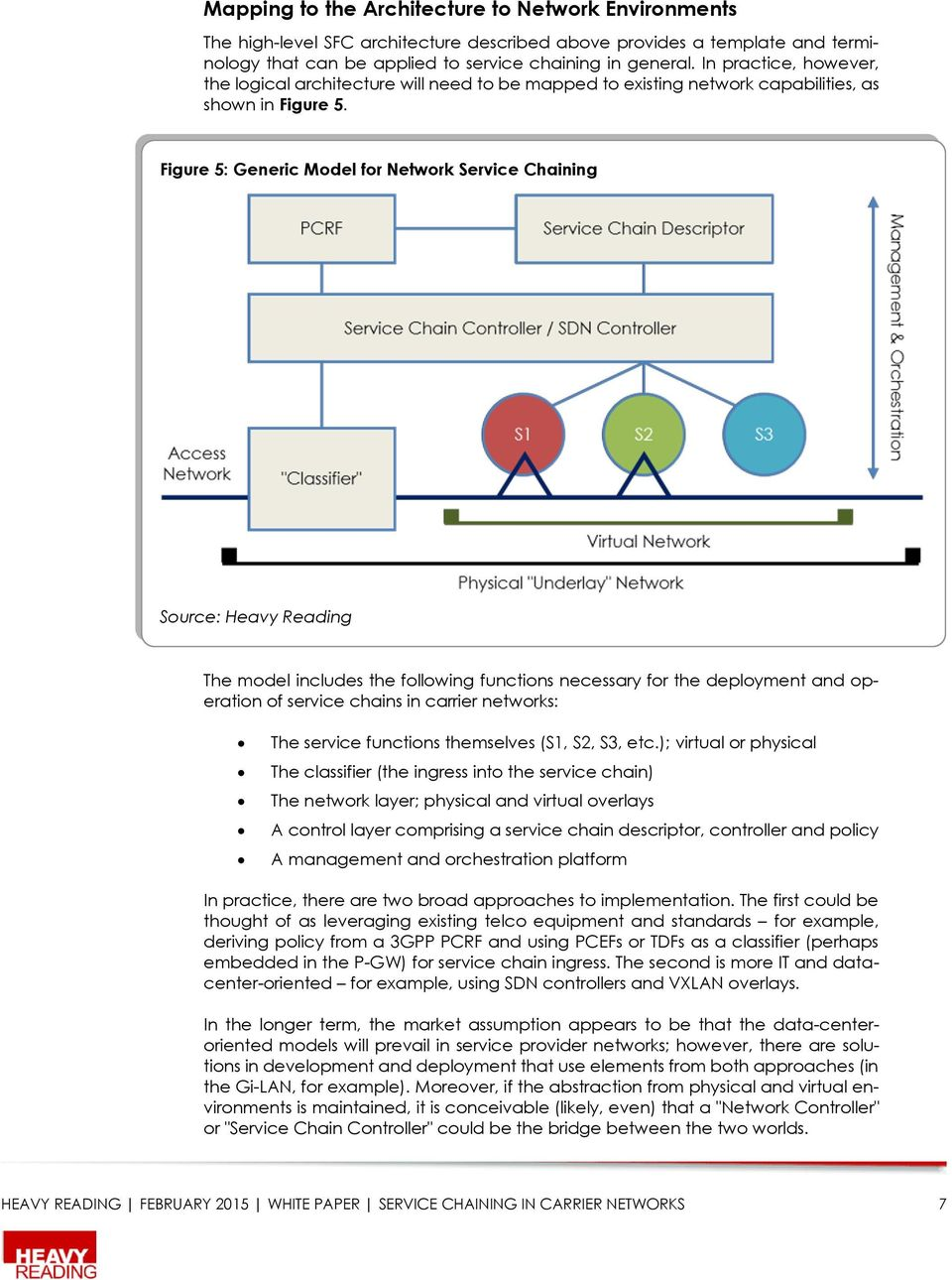 Figure 5: Generic Model for Network Service Chaining Source: Heavy Reading The model includes the following functions necessary for the deployment and operation of service chains in carrier networks: