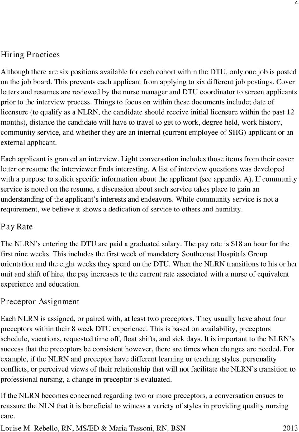 nurse residency program manual pdf cover letters and resumes are reviewed by the nurse manager and dtu coordinator to screen applicants