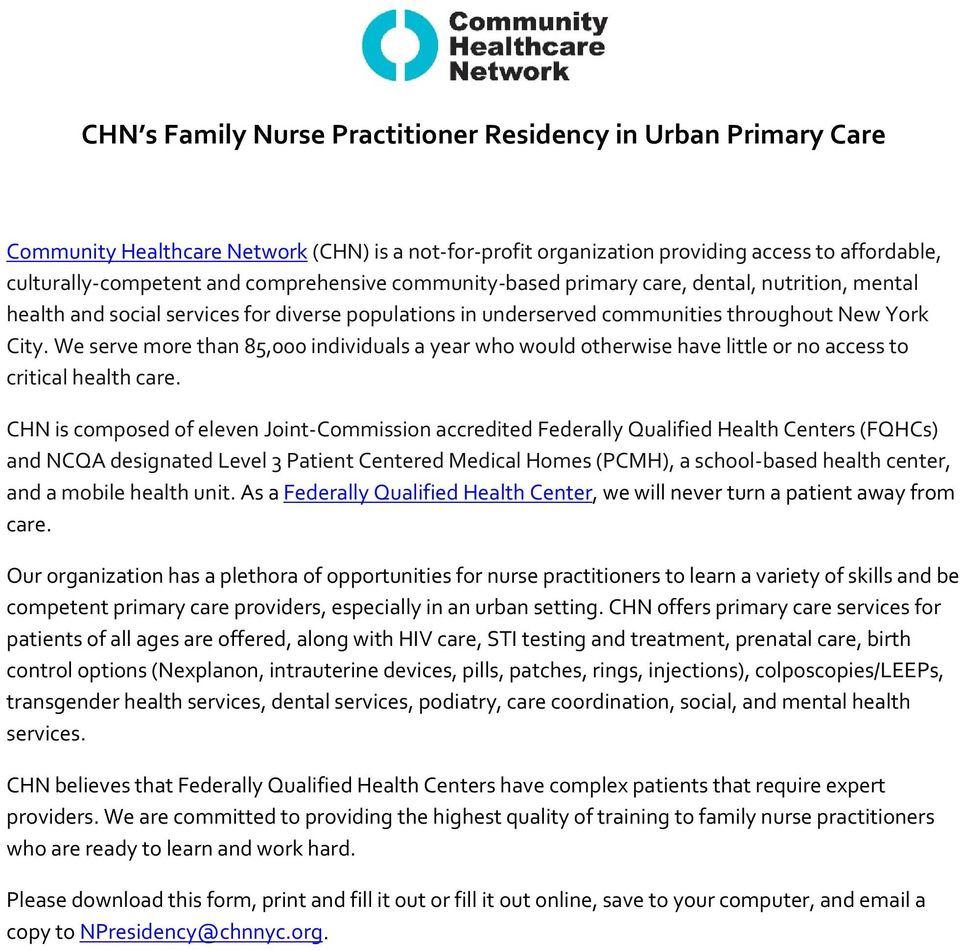 CHN s Family Nurse Practitioner Residency in Urban Primary