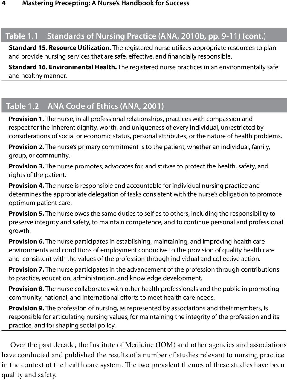 The registered nurse practices in an environmentally safe and healthy manner. Table 1.2 ANA Code of Ethics (ANA, 2001) Provision 1.