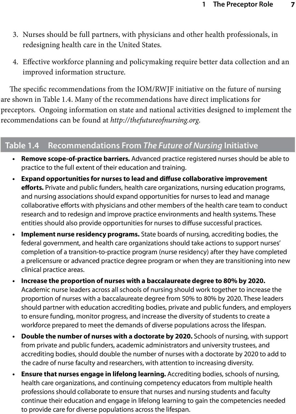 The specific recommendations from the IOM/RWJF initiative on the future of nursing are shown in Table 1.4. Many of the recommendations have direct implications for preceptors.