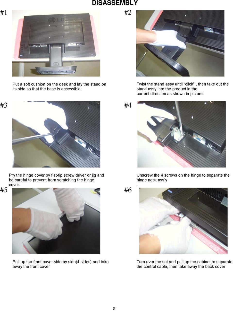 #3 #4 #5 Pry the hinge cover by flat-tip screw driver or jig and be careful to prevent from scratching the hinge cover.