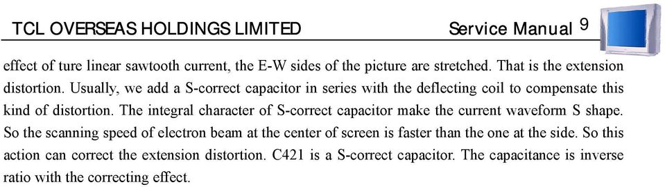 The integral character of S-correct capacitor make the current waveform S shape.