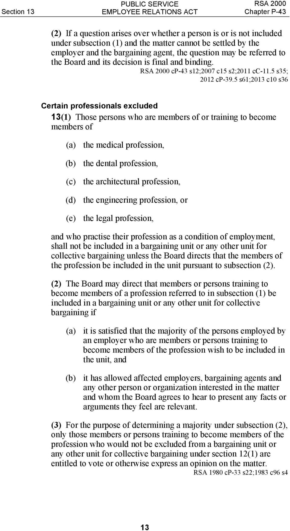 5 s61;2013 c10 s36 Certain professionals excluded 13(1) Those persons who are members of or training to become members of (a) the medical profession, (b) the dental profession, (c) the architectural