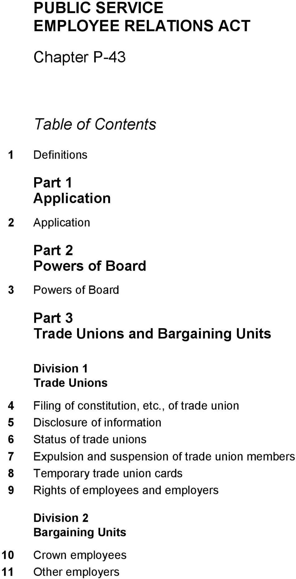 , of trade union 5 Disclosure of information 6 Status of trade unions 7 Expulsion and suspension of trade union
