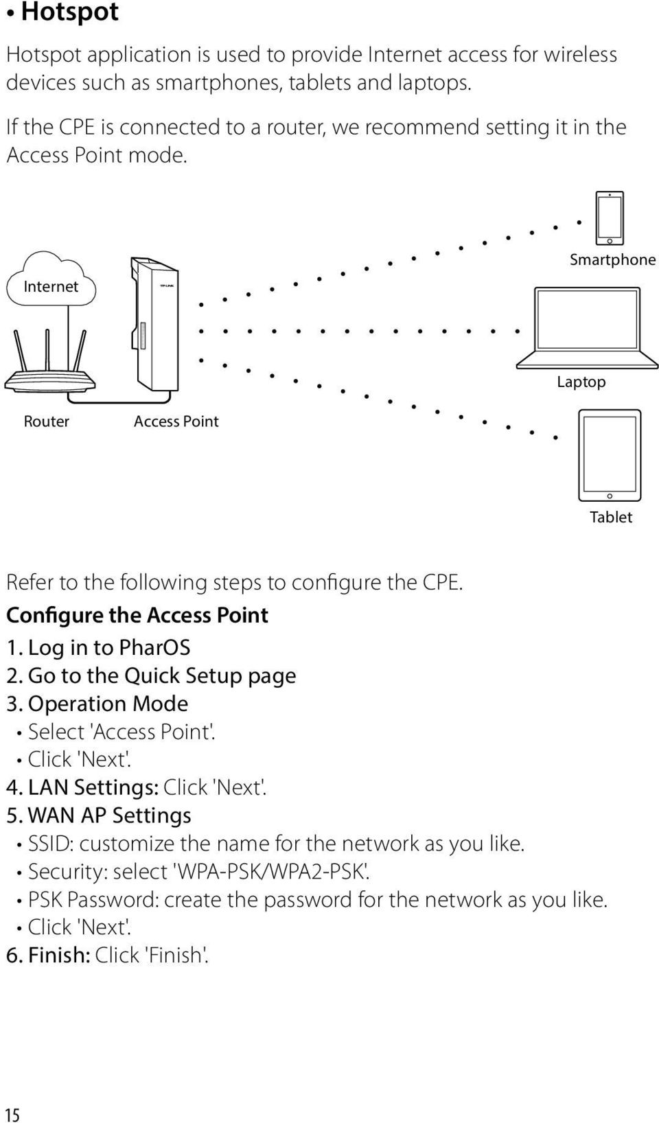 Internet Smartphone Laptop Router Access Point Tablet Refer to the following steps to configure the CPE. Configure the Access Point 1. Log in to PharOS 2.
