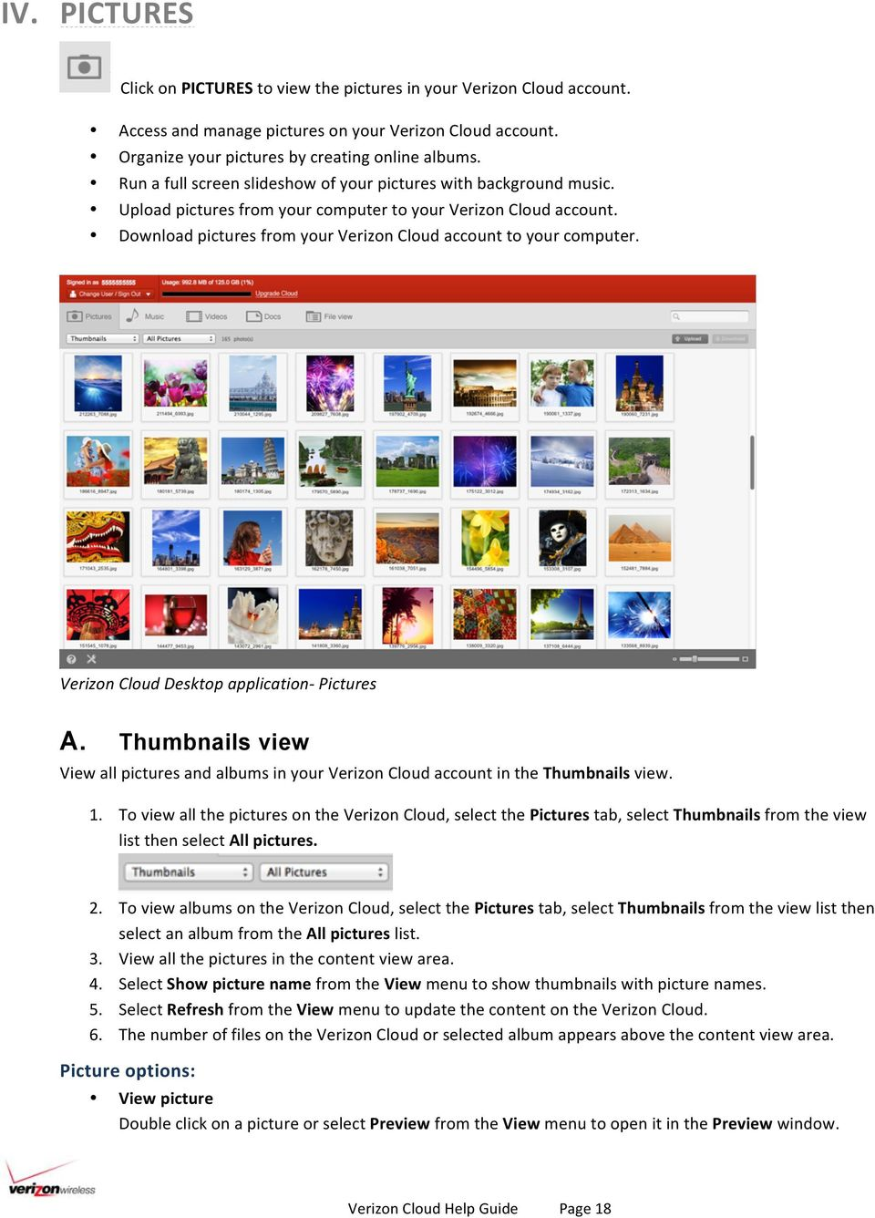 Download pictures from your Verizon Cloud account to your computer. Verizon Cloud Desktop application- Pictures A.