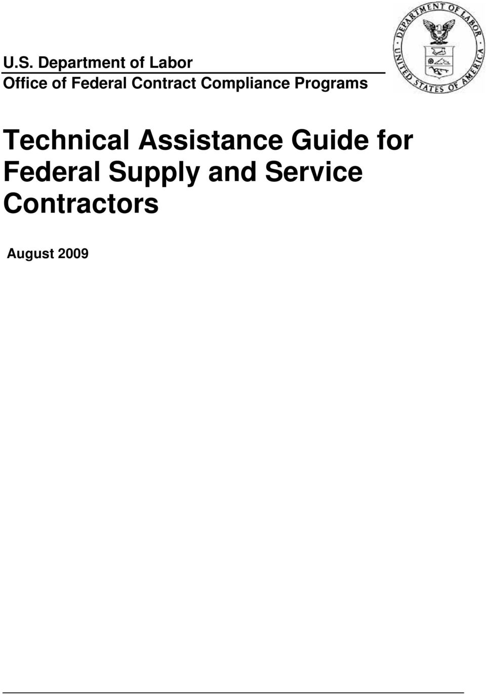Technical Assistance Guide for Federal