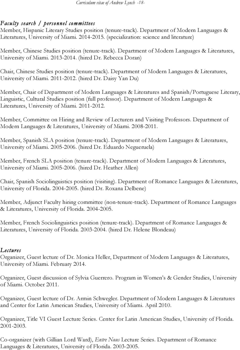 JANUARY 15, 2015 Curriculum vitae of. Andrew Lynch - PDF