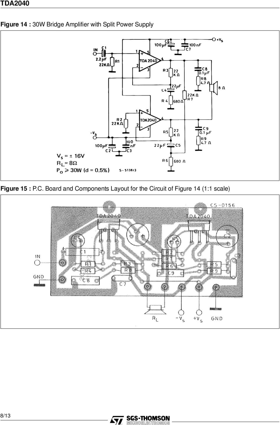 P.C. Board and Components Layout for