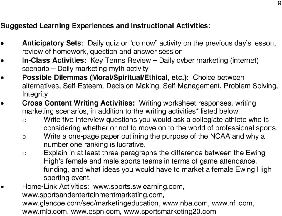 ): Choice between alternatives, Self-Esteem, Decision Making, Self-Management, Problem Solving, Integrity Cross Content Writing Activities: Writing worksheet responses, writing marketing scenarios,