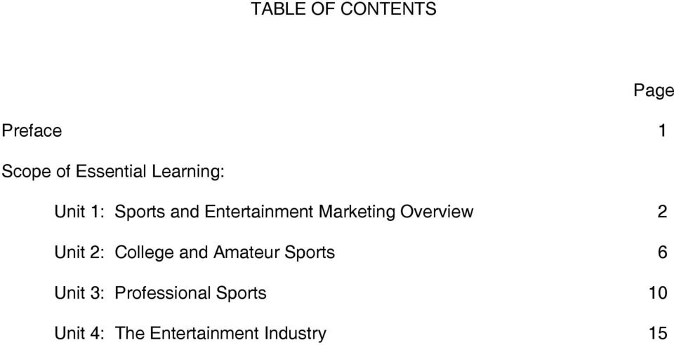 Overview 2 Unit 2: College and Amateur Sports 6 Unit 3: