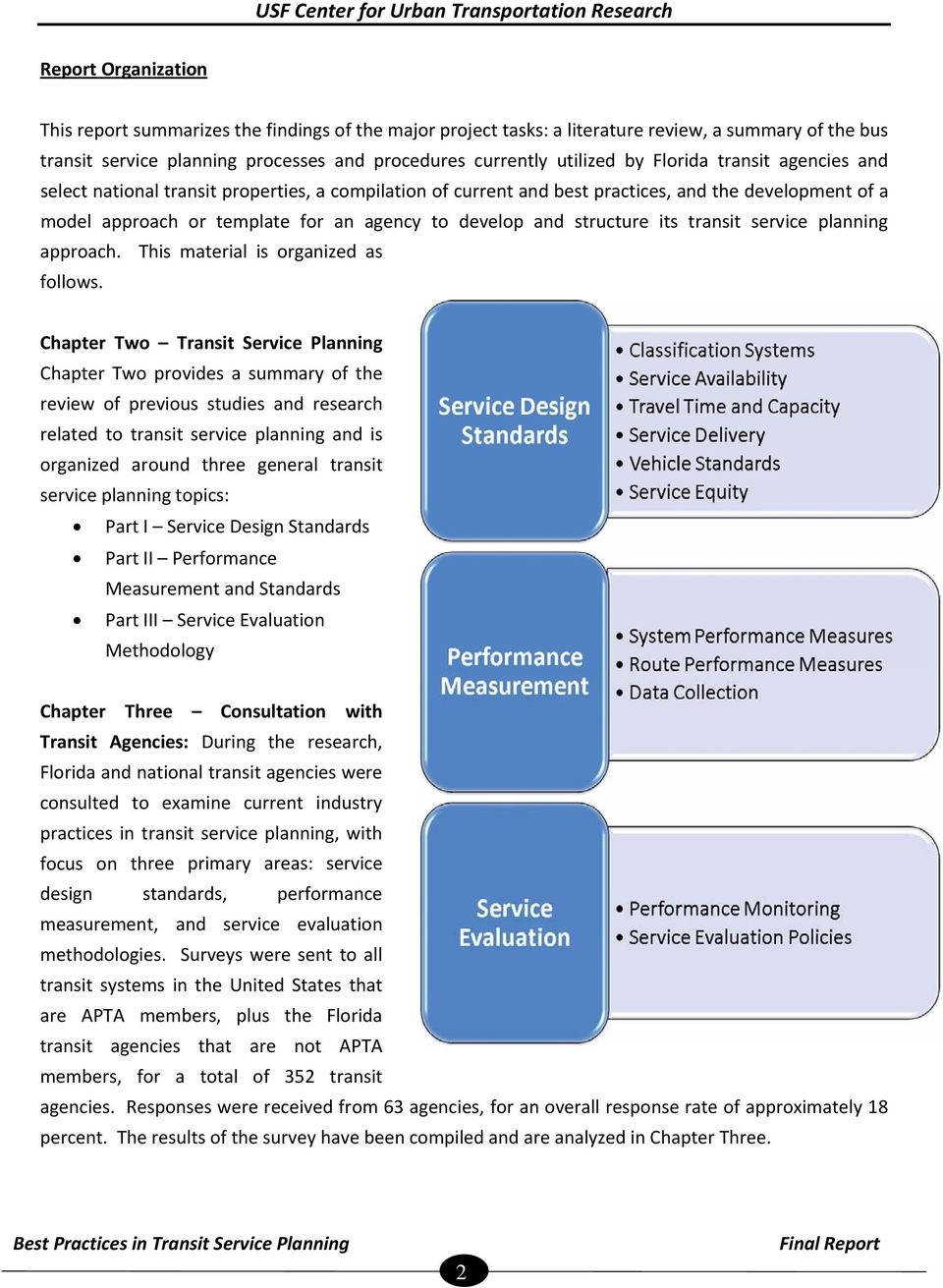 structure its transit service planning approach. This material is organized as follows.