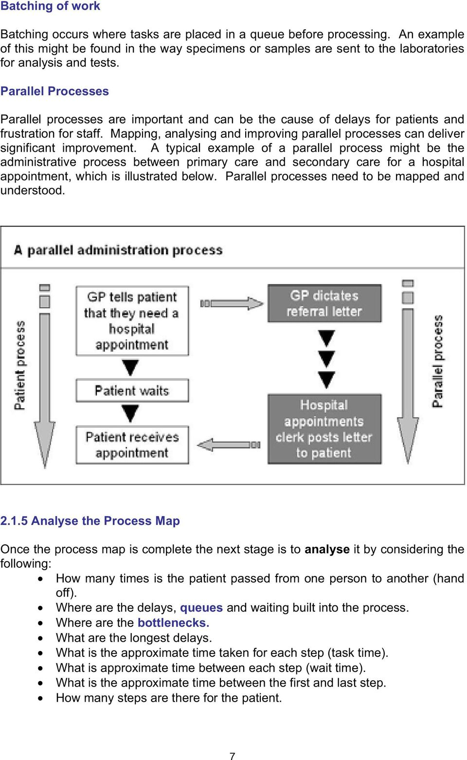 Parallel Processes Parallel processes are important and can be the cause of delays for patients and frustration for staff.