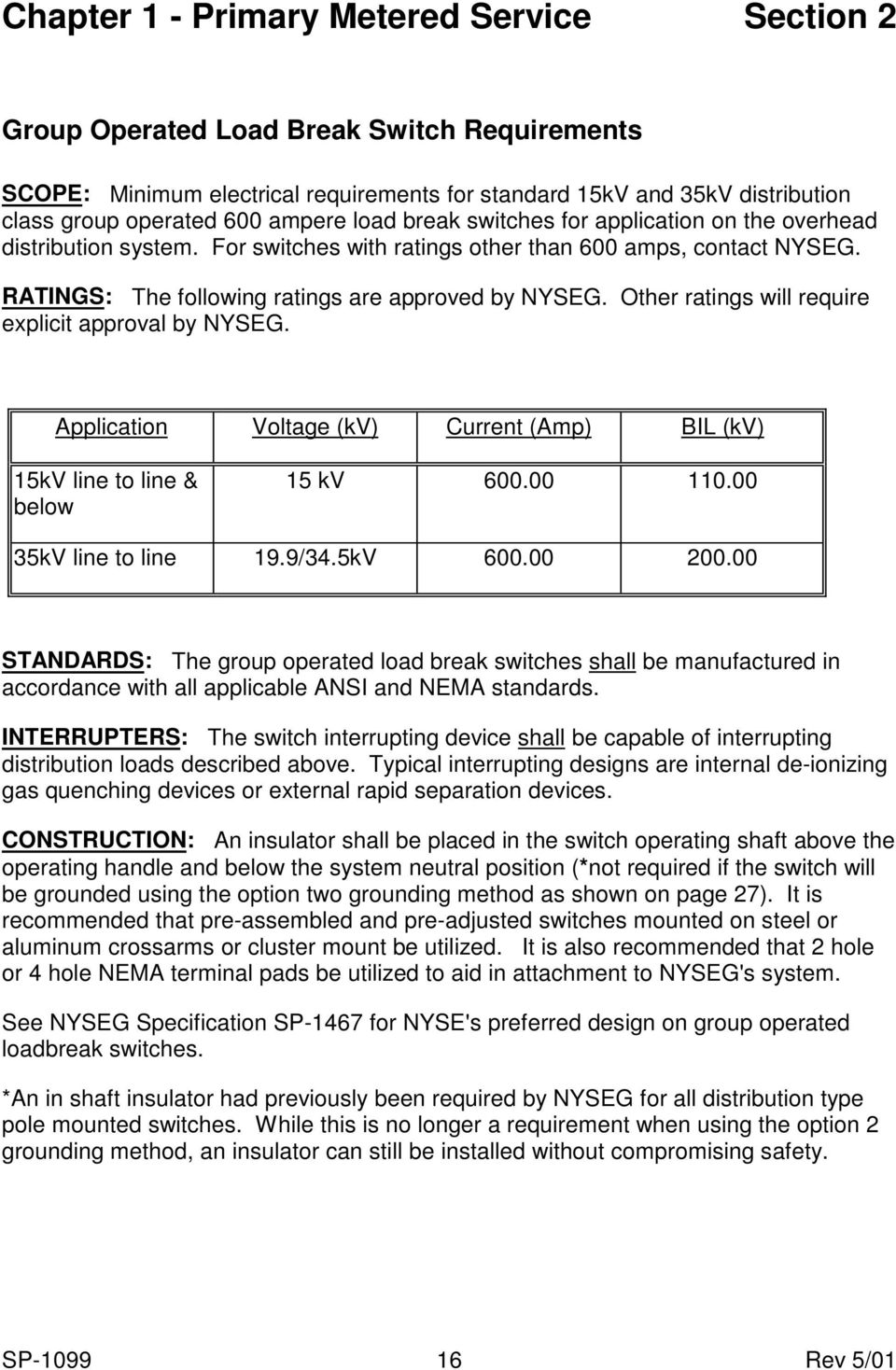 Other ratings will require explicit approval by NYSEG. Application Voltage (kv) Current (Amp) BIL (kv) 15kV line to line & below 15 kv 600.00 110.00 35kV line to line 19.9/34.5kV 600.00 200.