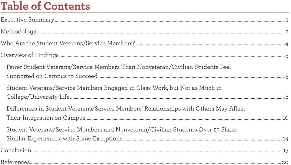 ..5 Student Veterans/Service Members Engaged in Class Work, but Not as Much in College/University Life.