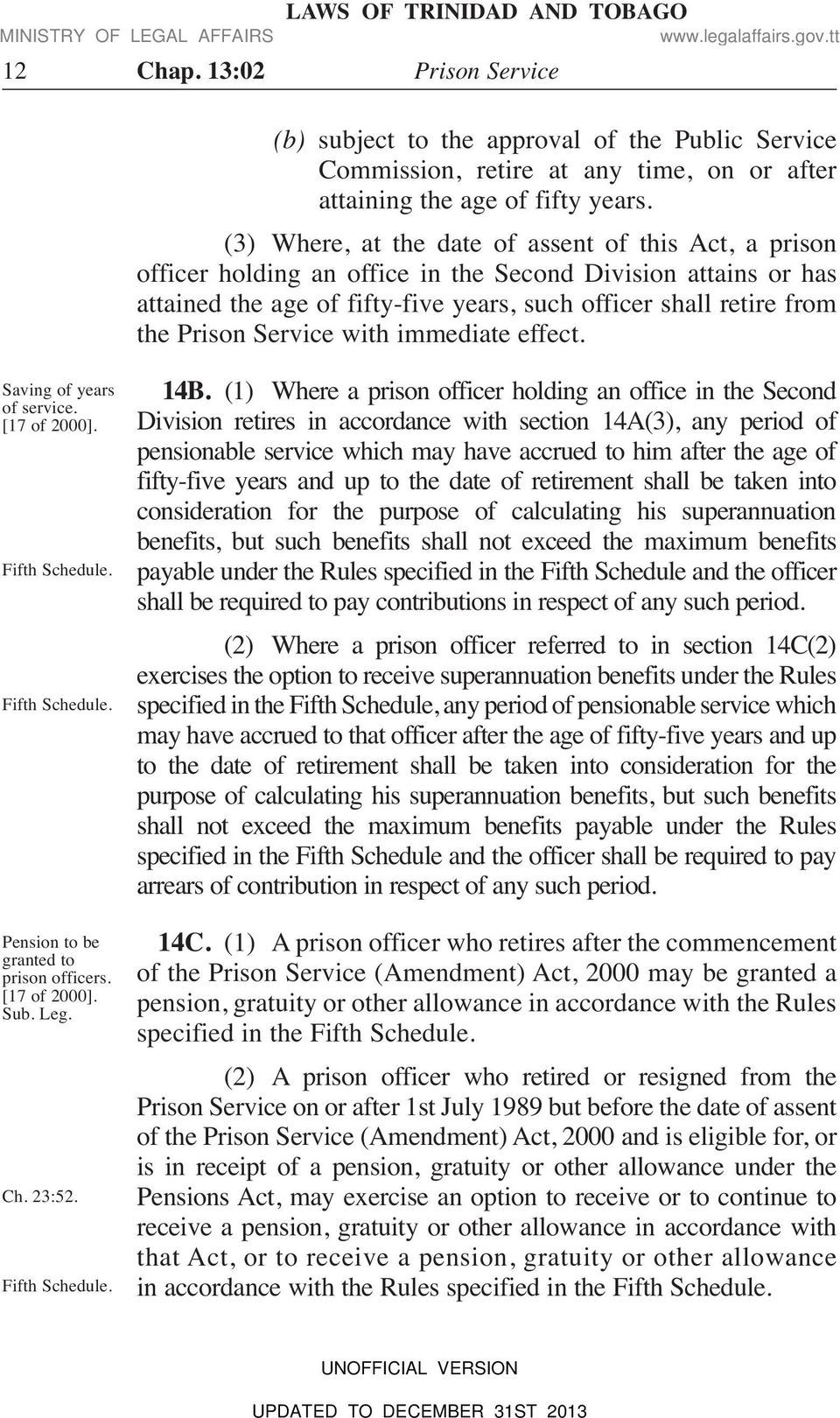 Service with immediate effect. Saving of years of service. [17 of 2000]. Fifth Schedule. Fifth Schedule. Pension to be granted to prison officers. [17 of 2000]. Sub. Leg. Ch. 23:52. Fifth Schedule. 14B.