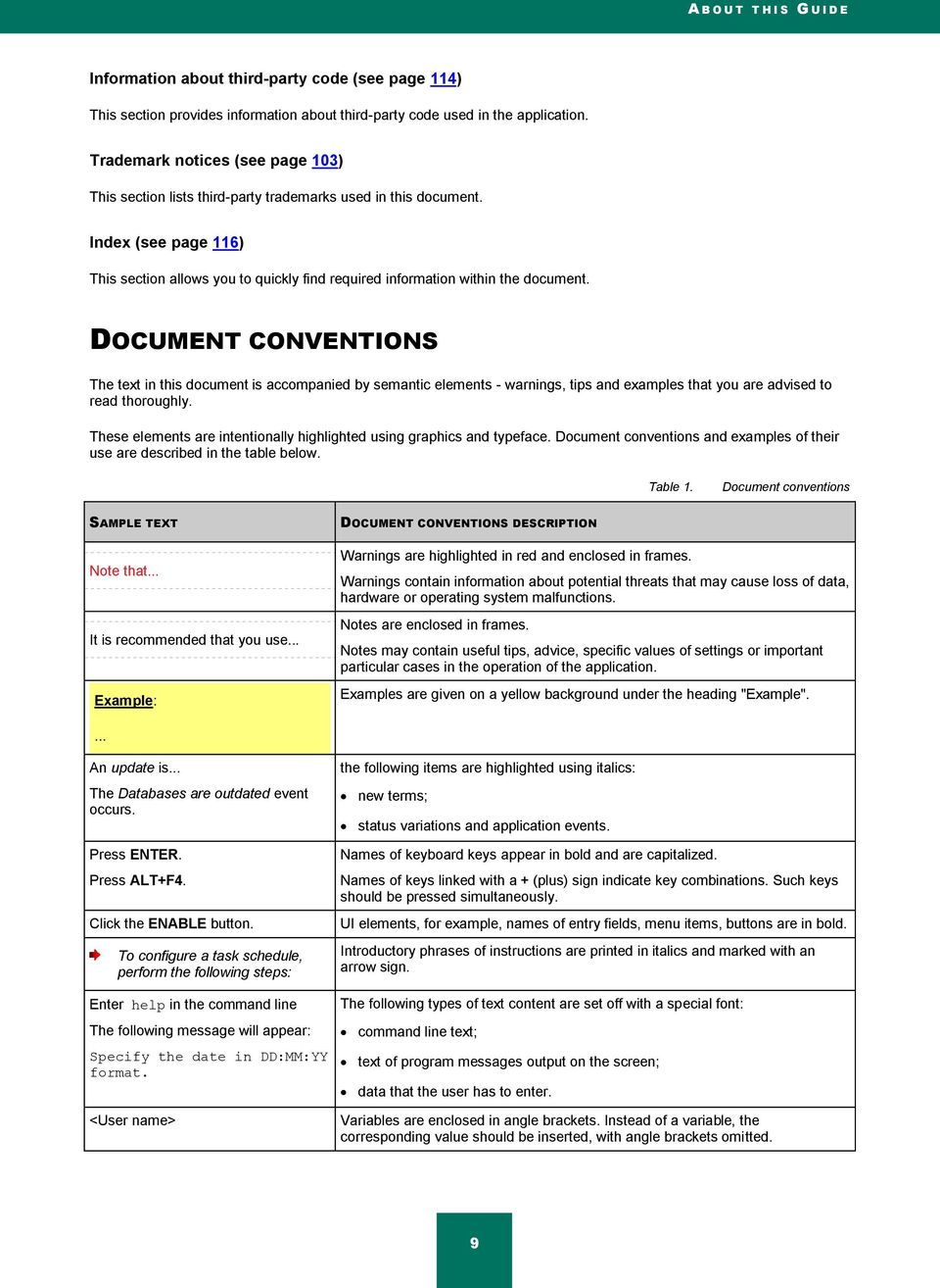 DOCUMENT CONVENTIONS The text in this document is accompanied by semantic elements - warnings, tips and examples that you are advised to read thoroughly.