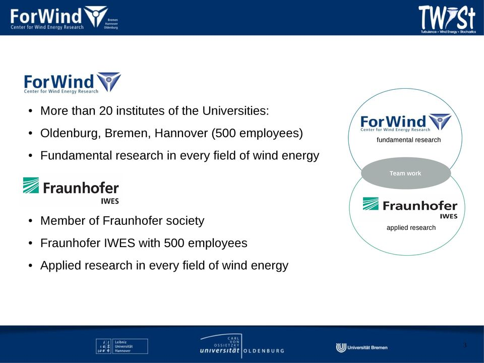 of wind energy Team work Member of Fraunhofer society Fraunhofer IWES with
