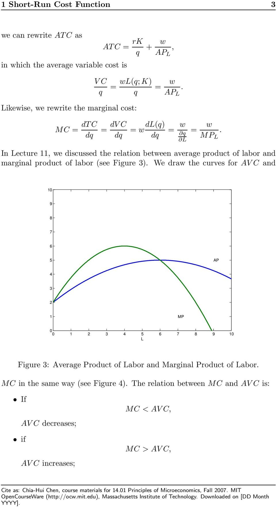 dq dq dq q MP In ecture, we discussed the relation between average product of labor and marginal product of labor (see Figure ).