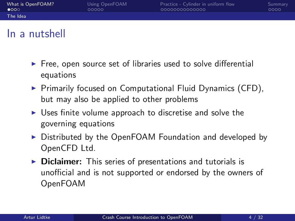 equations Distributed by the OpenFOAM Foundation and developed by OpenCFD Ltd.