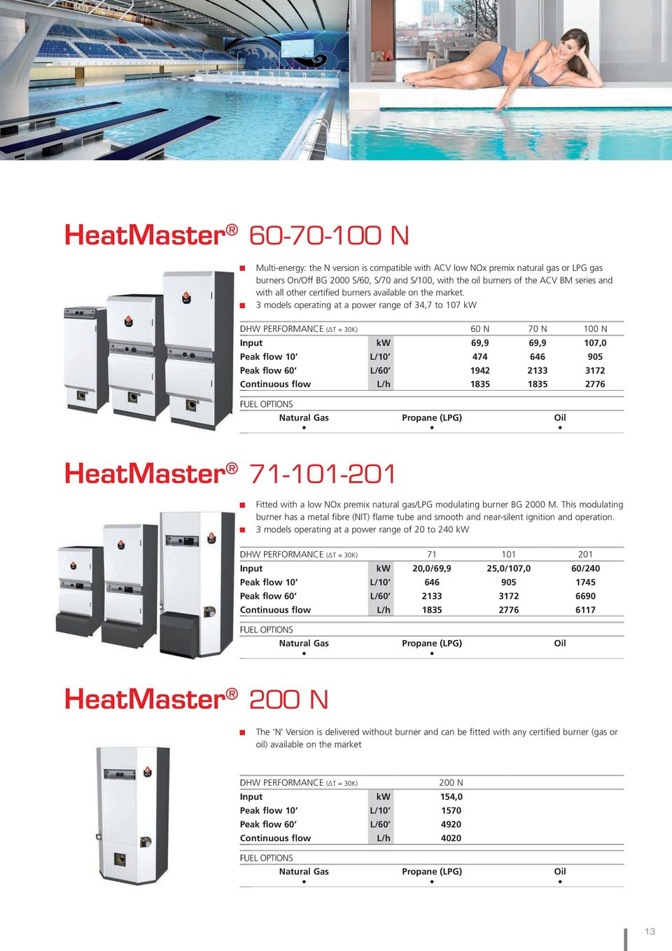 3 models operating at a power range of 34,7 to 107 kw DHW PERFORMANCE ( T = 30K) 60 N 70 N 100 N Input kw 69,9 69,9 107,0 Peak flow 10 L/10 474 646 905 Peak flow 60 L/60 1942 2133 3172 Continuous