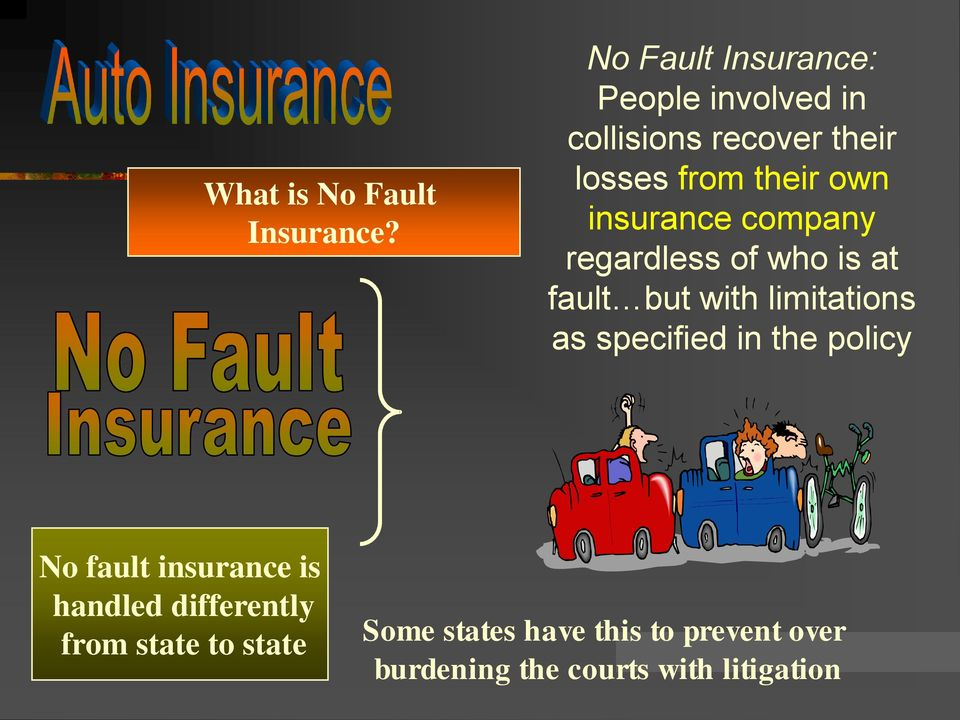 insurance company regardless of who is at fault but with limitations as specified in