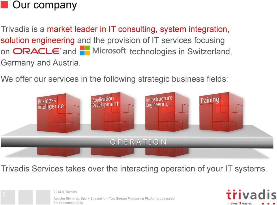 We offer our services in the following strategic business fields: OPERATION Trivadis Services takes over