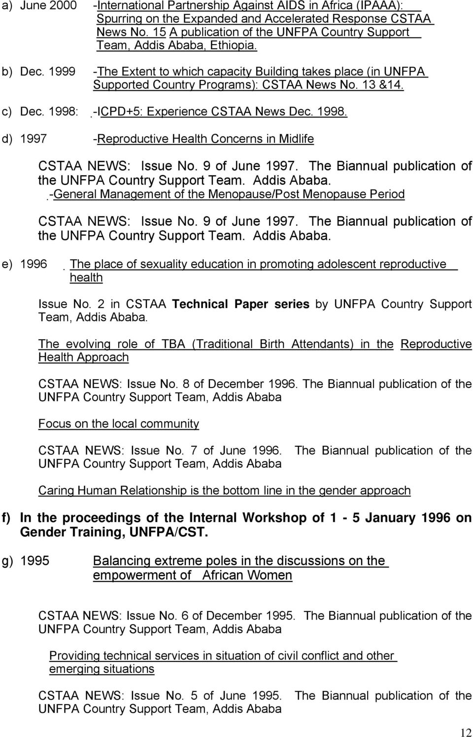 c) Dec. 1998: - ICPD+5: Experience CSTAA News Dec. 1998. d) 1997 -Reproductive Health Concerns in Midlife CSTAA NEWS: Issue No. 9 of June 1997.