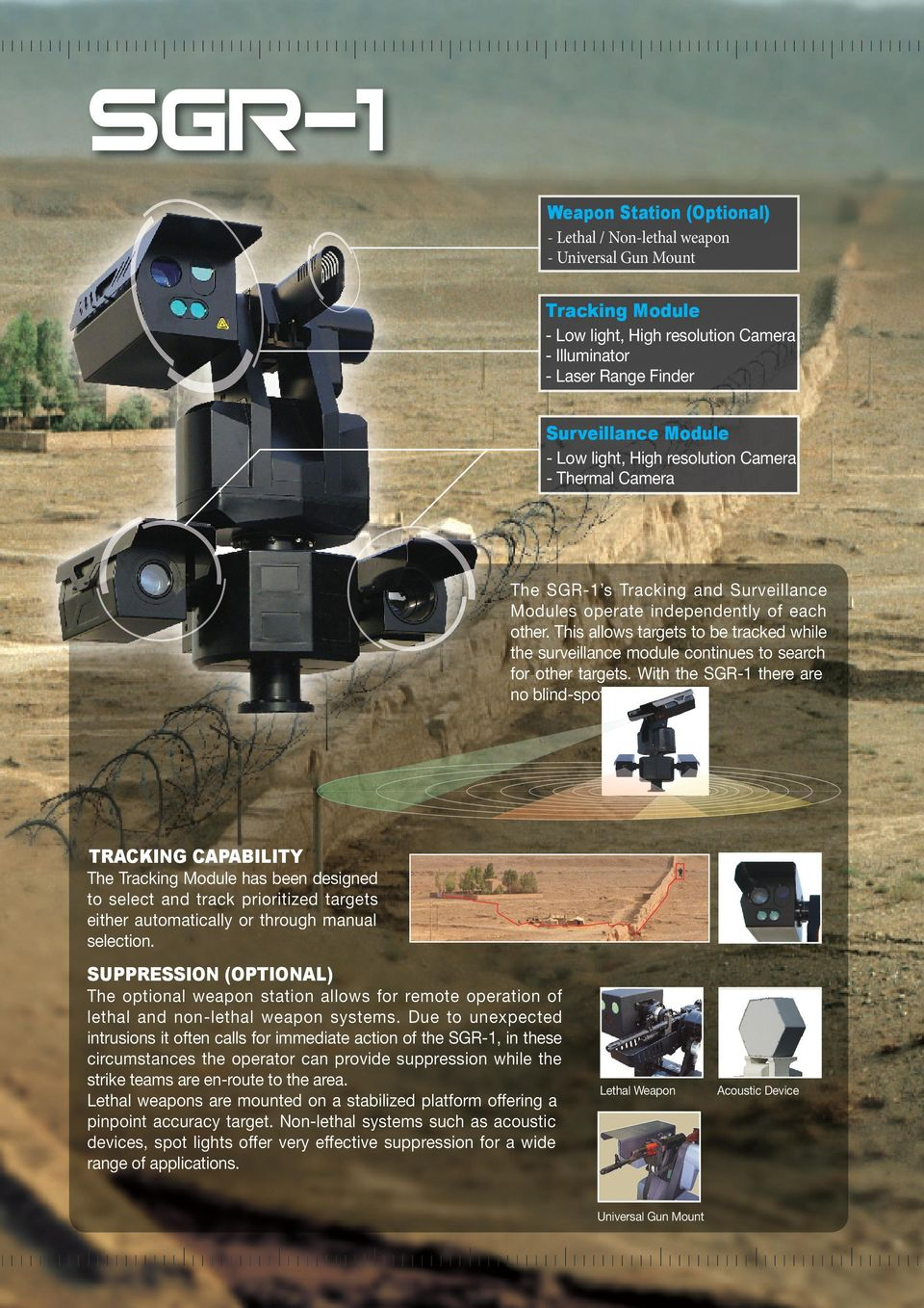 This allows targets to be tracked while the surveillance module continues to search for other targets. With the SGR-1 there are no blind-spots.