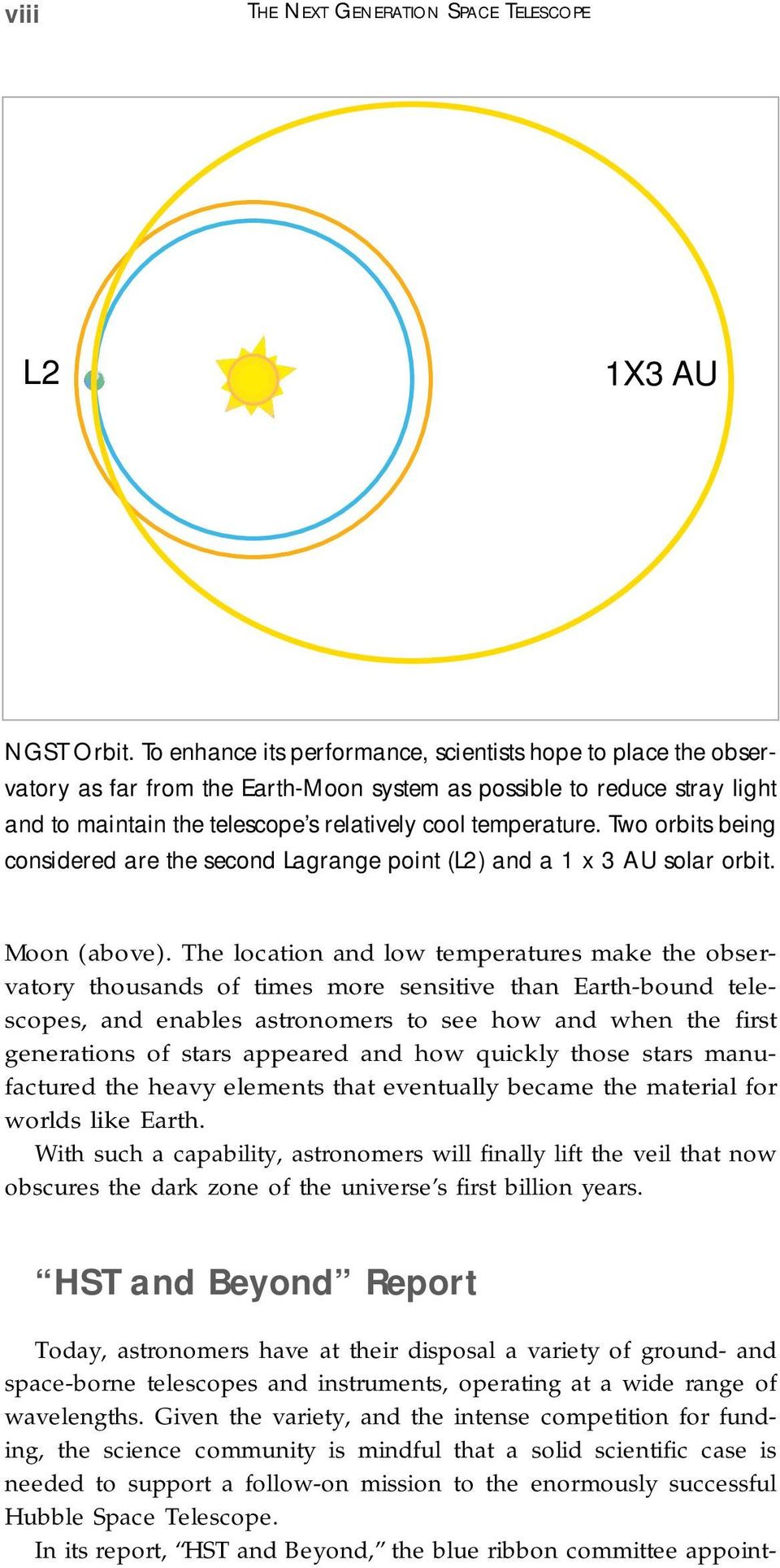 Two orbits being considered are the second Lagrange point (L2) and a 1 x 3 AU solar orbit. Moon (above).