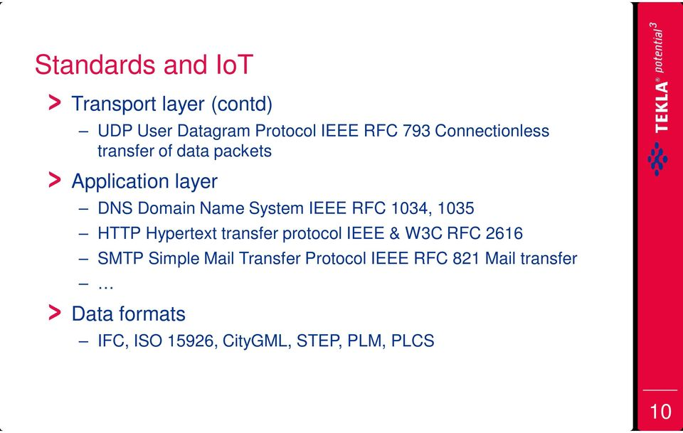 RFC 1034, 1035 HTTP Hypertext transfer protocol IEEE & W3C RFC 2616 SMTP Simple Mail