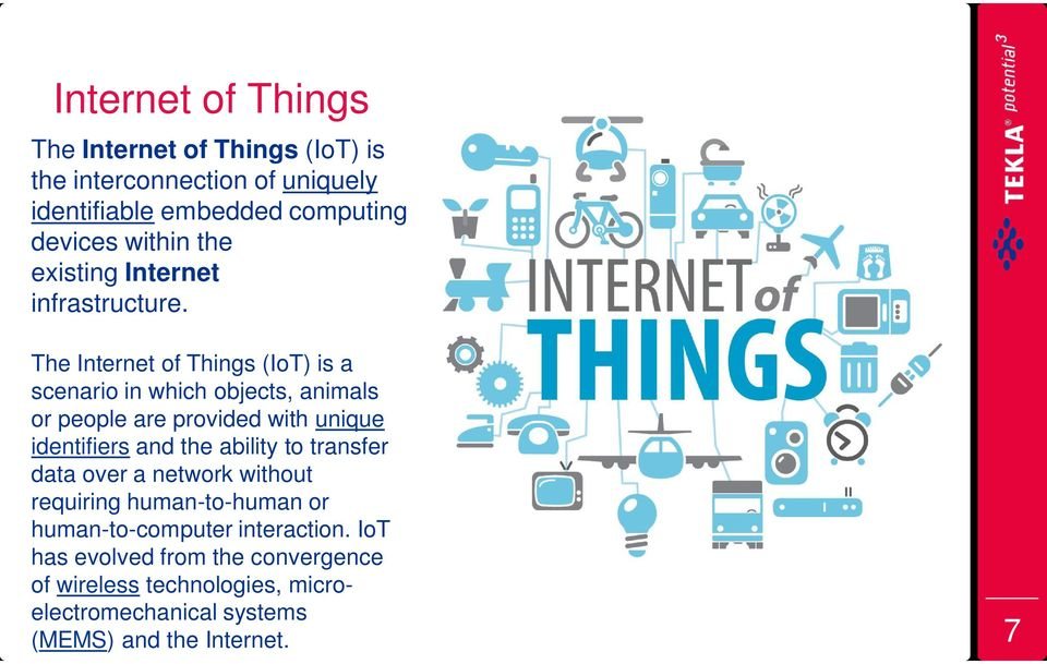 The Internet of Things (IoT) is a scenario in which objects, animals or people are provided with unique identifiers and the